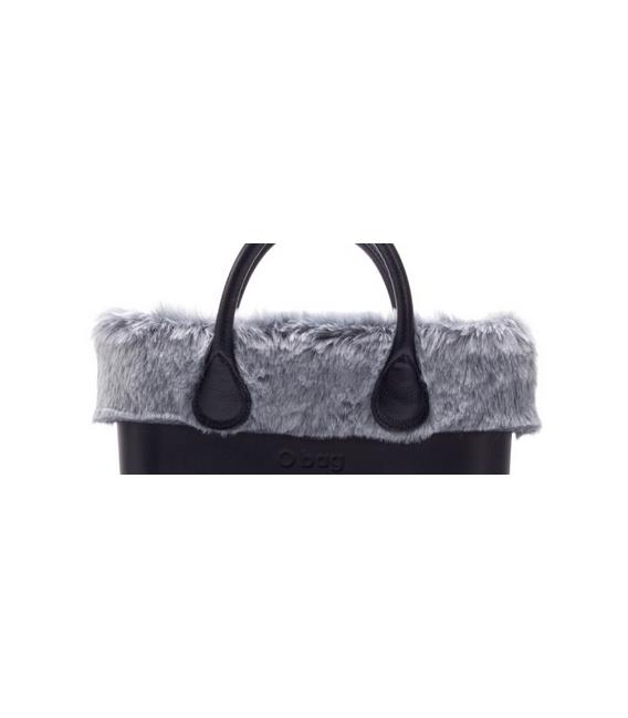 Bordo Ecopelliccia rabbit grigio per O Bag mini
