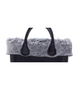 Bordo Ecopelliccia rabbit grigio per O Bag mini