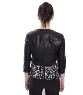RINASCIMENTO Jacket woman in eco-leather with zip BLACK Art. CFC0073064003