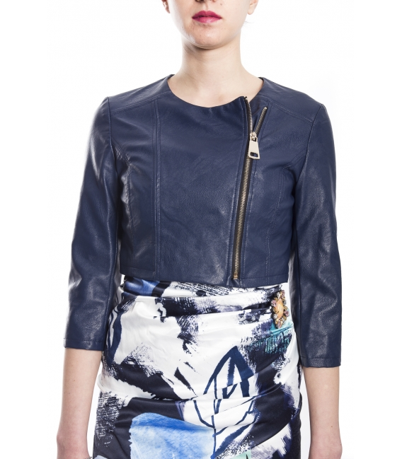 RINASCIMENTO Jacket woman in eco-leather with zip BLUE Art. CFC0073064003