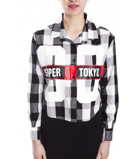 STK SUPER TOKYO Camicia corta tartan DONNA con stampa NERO STKD118
