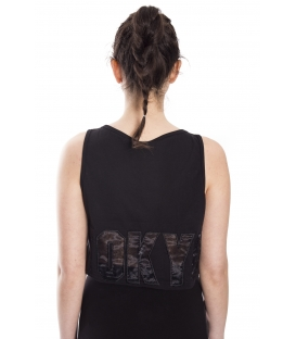 STK SUPER TOKYO Short Top WOMAN with print BLACK STKD136