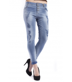 MARYLEY Jeans woman boyfriend baggy with rips DENIM BLUE Art. B60S/G19