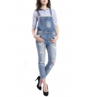 Salopette woman boyfriend baggy with rips DENIM Art. SAL49