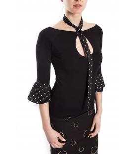 DENNY ROSE T-shirt with pois BLACK 63DR16021