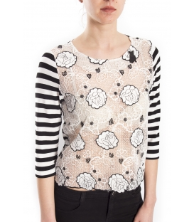 DENNY ROSE T-shirt with lace BLACK / WHITE 63DR16001