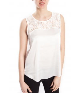 RINASCIMENTO Top with lace WHITE Art. CFC0072164003
