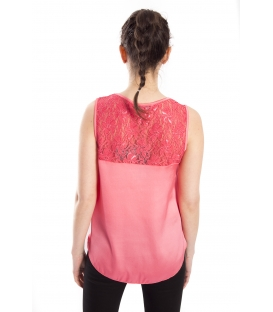 RINASCIMENTO Top with lace CORAL Art. CFC0072164003