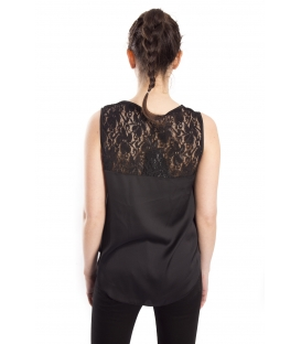 RINASCIMENTO Top with lace BLACK Art. CFC0072164003
