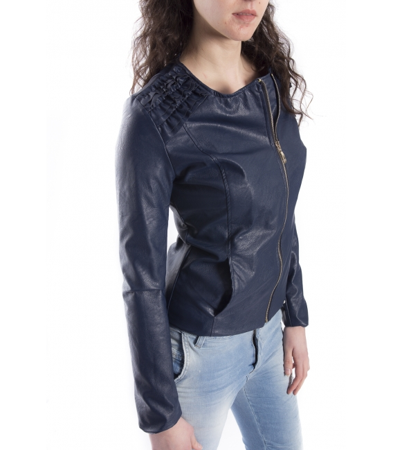 ZIMO Jacket in eco-leather BLU / CARTA ZUCCHERO Art. 16218