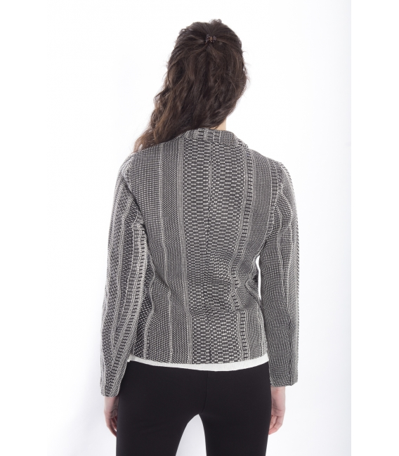 ZIMO Jacket with buttons in fantasy WHITE / BLACK Art. 2287