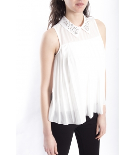 ZIMO Blouse / Shirt with plissé and studs WHITE Art. 2246