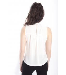 ZIMO Blusa / Camicia con plissé e colletto BIANCO Art. 2246