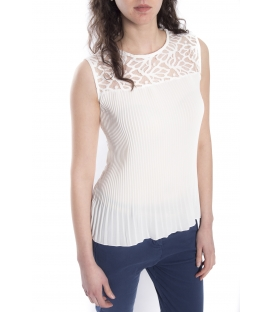 Top / Blouse WOMAN with plissé and lace WHITE Art. 14656