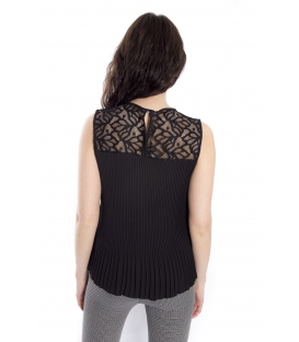 Top / Blouse WOMAN with plissé and lace BLACK Art. 14656