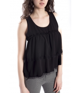 Top / Blouse WOMAN with lace BLACK Art. 6537