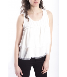 Top / Blouse WOMAN with lace WHITE Art. 6537
