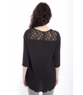 Blouse WOMAN with plissé BLACK Art. 41591