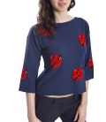 DENNY ROSE T-shirt BLU con stampa coccinelle 63DR15001