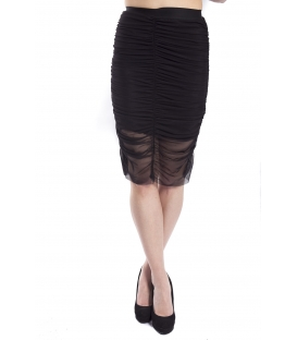 DENNY ROSE black skirt draped longuette 63DR17000