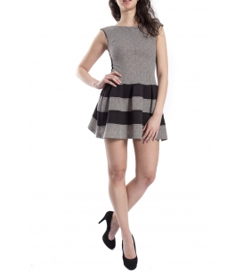 RINASCIMENTO Dress in fantasy with lace GREY / BLACK CFC0070420003
