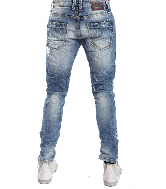 GIANNI LUPO Jeans con strappi e toppe 4 bottoni DENIM Art. CO77GL