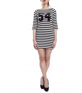 DENNY ROSE Dress with stripes BLACK / WHITE Art. 63DR11026