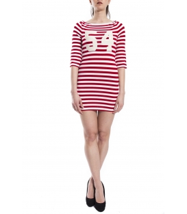 DENNY ROSE Dress with stripes RED / WHITE Art. 63DR11026
