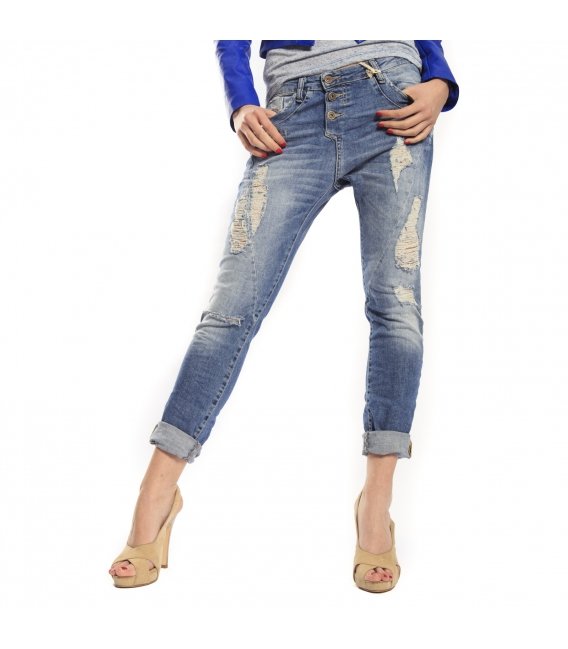 PLEASE jeans boyfriend baggy 3 buttons with rips DENIM P78 021