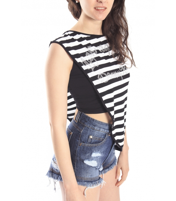 DENNY ROSE T-shirt with stripes BLACK/WHITE Art. 63DR26025