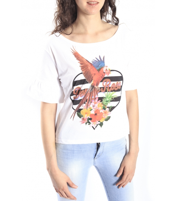 DENNY ROSE T-shirt corta in fantasy WHITE Art. 63DR26020
