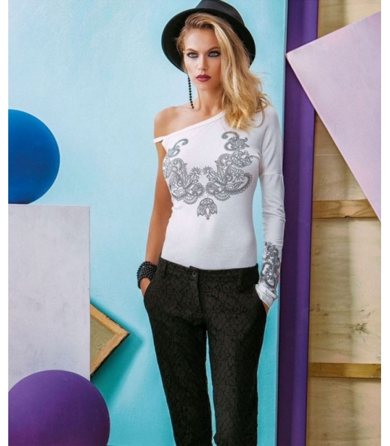 DENNY ROSE T-shirt with strass WHITE 51DR62010