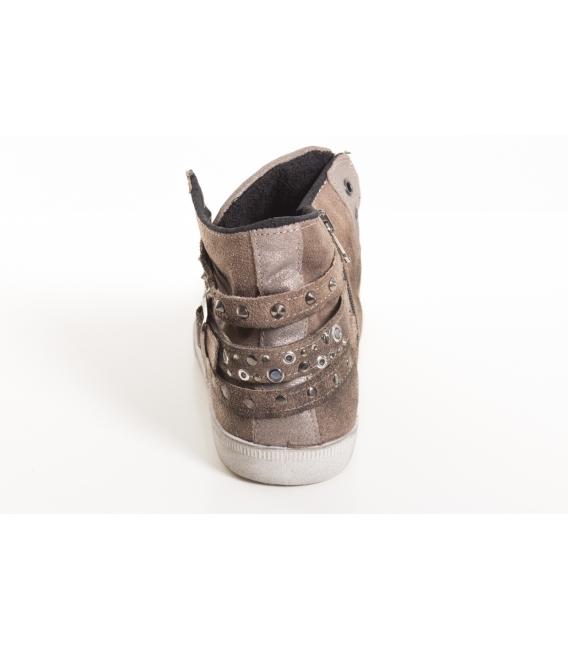 OVYE sneakers pelle con cinturini e borchie MARRONE