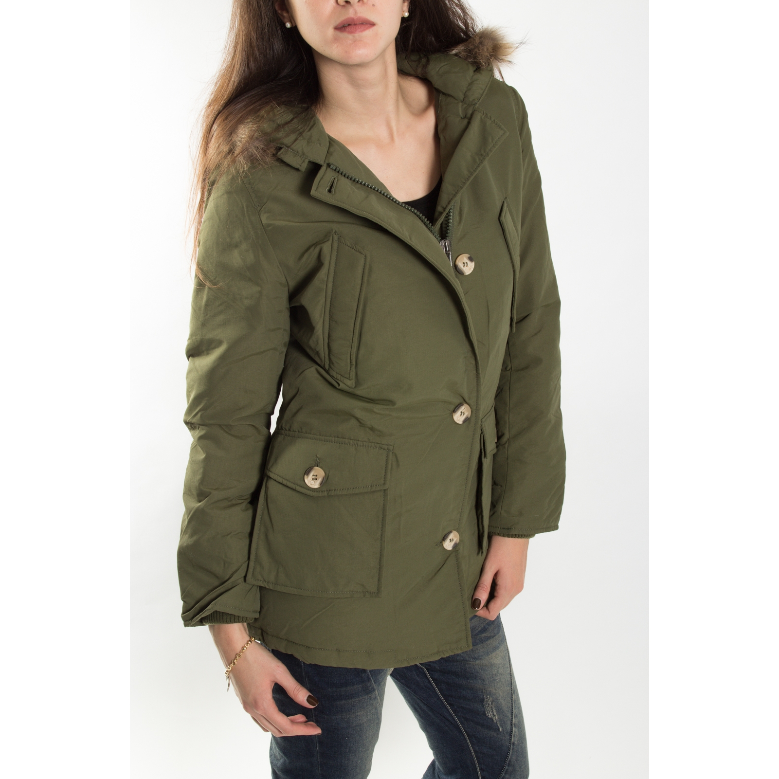 Please parka giaccone in piumino + zip e bottoniV32TO8040 VERDE - Ejeans af340eb9c5e