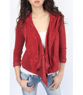 PLEASE jacket with hood and lace CHERRY J526D007 NEW