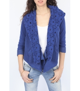 PLEASE jacket with hood and lace INDIGO J526D007 NEW