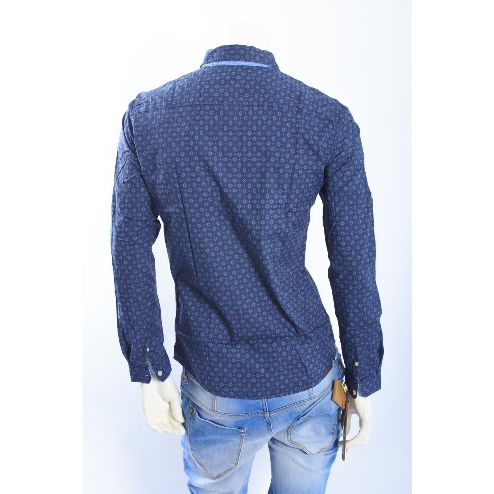 Alcott Di Cotone Camicia ArtUoss14 In Fantasia Blu n8PwO0k