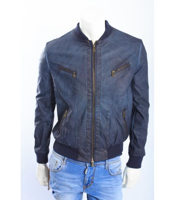 ALCOTT giacca in ecopelle con zip BLU