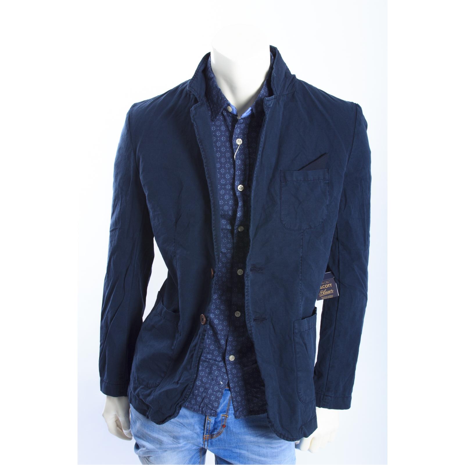 comprare popolare 94ebc 6dcdb ALCOTT giacca in canvas con dettaglio taschino BLU NEW