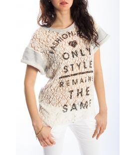 PLEASE T-shirt with print and lace NEUTRAL M37002405 NEW