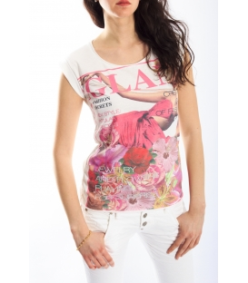 PLEASE T-shirt with print WHITE M3814782 NEW