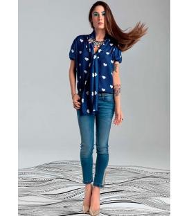 DENNY ROSE camicia/blusa con stampa a cuori 45DR41011 BIANCO E BLU SPRING 2014