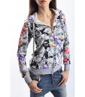 525 sweatshirt with colored print and hood GREY P456019 NEW