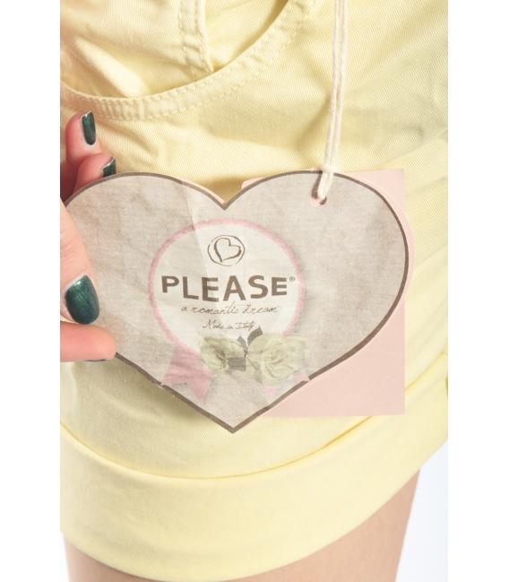 PLEASE short boyfriend baggy 5 buttons YELLOW OLD P88ACQ94U NEW