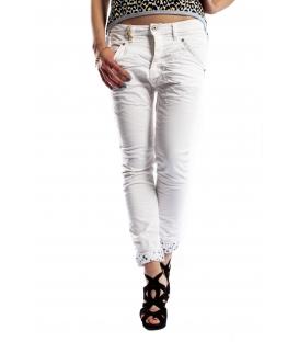 PLEASE jeans boyfriend baggy color with zip P32ECV9DQ WHITE NEW