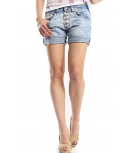 PLEASE shorts boyfriend baggy 5 buttons DENIM light P88ADC7NV NEW