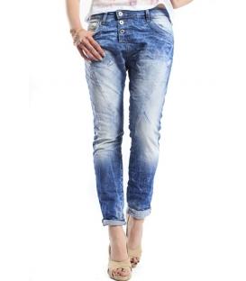 PLEASE jeans boyfriend baggy 3 buttons DENIM medium dark P78ADC7RH NEW
