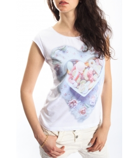 PLEASE t-shirt with print WHITE M3814924 NEW