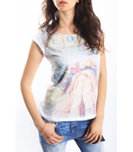 PLEASE t-shirt with print WHITE M3814921 NEW