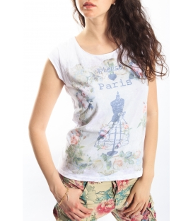 PLEASE t-shirt with print WHITE M3814923 NEW